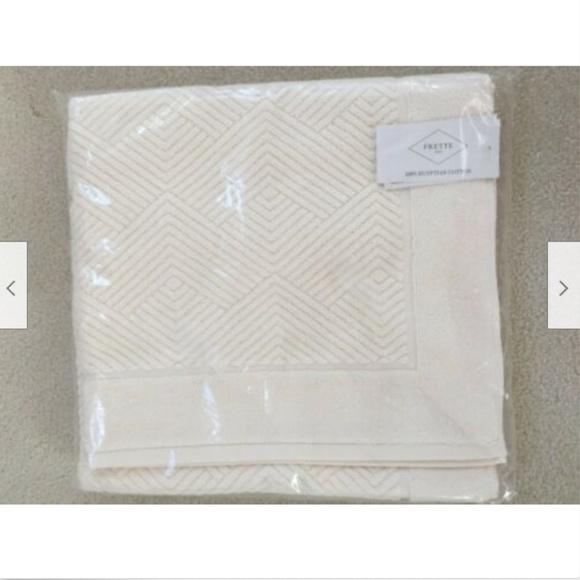 "FRETTE  Diamond 1x BATH FLOOR MAT 100/% Egyptian Cotton Portugal IVORY 24/""x35/"""